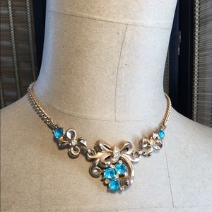Vintage Bow and Blue Stone Necklace